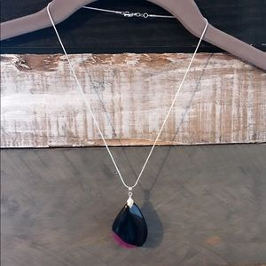 Black & Pink Agate Necklace Solid 925